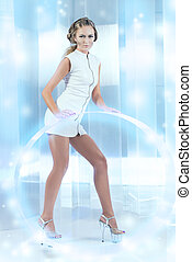 cyber woman - Beautiful young woman in white latex costume...
