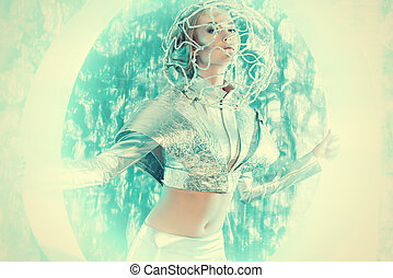 sci-fi style - Beautiful young woman in silver latex costume...