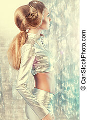 digital world - Beautiful young woman in silver latex...