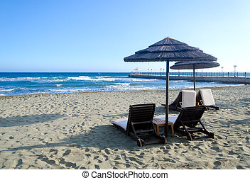 mimbre, playa, paraguas