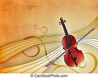 Classical music - Violin over an elegant warm background...