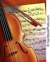 Violin music - Violin close up and music sheet. Digital...