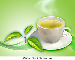 Green tea - A cup of green tea and some tea leaves. Digital...