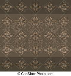 Dark brown ornamental background - Seamless dark brown...