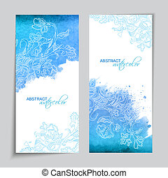 Abstract Vector Watercolor Blue Banners - Abstract vector...
