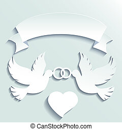 Doves holding wedding rings. Vector cartoon illustration