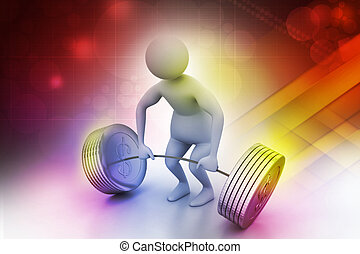 3d man lifting weights