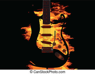 Burning Guitar - An electriv guitar with a burning...