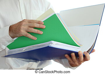 searching in folder - business man is searching in document...