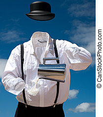 Invisible Man Pours Milk, with a blue sky behind....