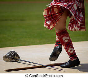 Scottish Sword Dance - Feet of a girl performing the...