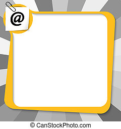 yellow text box with paper clip and email symbol
