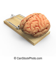 3d Brain in a mousetrap - 3d render of a brain in a...
