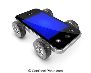 3d Wheeled smartphone - 3d render of a smartphone with car...