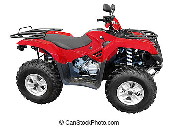 red atv quad-bike isolated