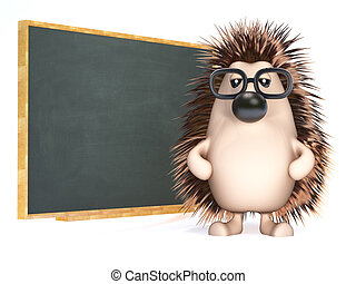 3d Hedgehog teaches at the blackboard
