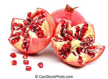 Ripe pomegranates fruit isolated on white