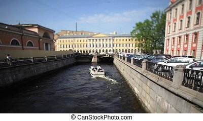 travel on canals of St. Petersburg - View of the Bridge and...