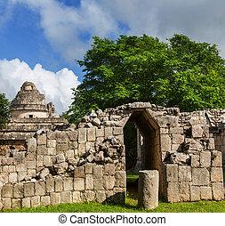 Pyramid in Mexico - Kukulkan Pyramid in Chichen Itza Site,...