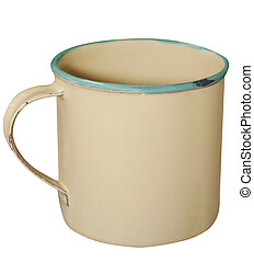 Cream and Green Enamel Mug isolated with clipping path...