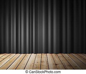 negro, cortinas