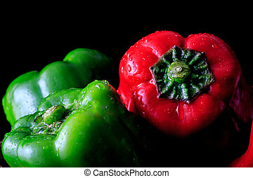 pimienta, verde, rojo