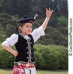 Highland Fling - A girl performing he Highland Fling in...