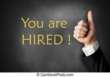 you are hired chalkboard thumbs up - thumbs up black...
