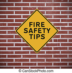 Fire Safety Tips - A road sign indicating fire safety tips