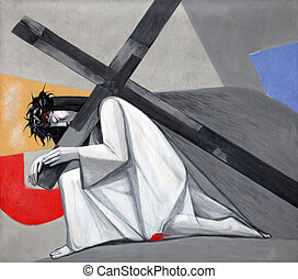 3rd Stations of the Cross, Jesus falls the first time,...