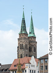 Towers of St Sebald Church in Nuremburg Germany, Franconia...