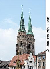Towers of St. Sebald Church in Nuremburg (Germany,...