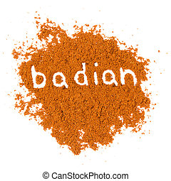 Badian - Photo of badian powder with text isolated on white