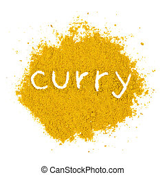 Curry powder - Photo of curry powder with text isolated on...