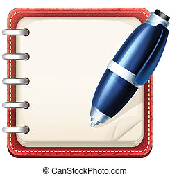 Vector Cartoon Notepad and Pen
