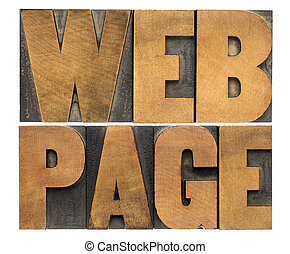 web page in wood type - internet concept - web page -...
