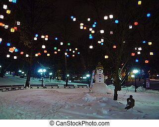 boneco neve, parque,  Riga