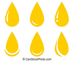oil drop set - yellow isolated oil drop set on white...