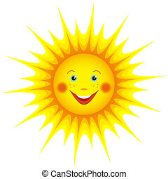 Smiling sun cartoon isolated over white