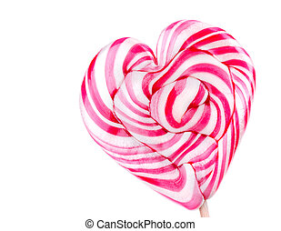 Bright colorful lollipop over white background