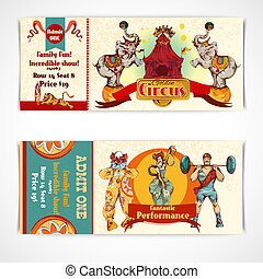 Circus vintage tickets set - Two vintage circus incredible...