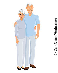 Senior couple full length - Old senior people family couple...