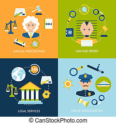 Law flat icons set - Business concept flat icons set of law...