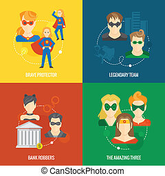 Superhero icon flat composition - Business concept flat...