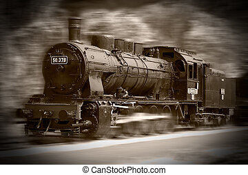 Steam trains - Beautiful steam train locomotive on the move