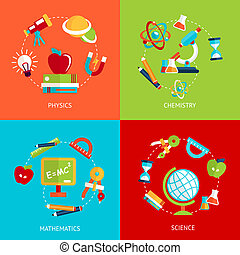 Education icons flat - Business concept flat icons set of...