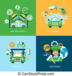 Car wash flat icons - Business concept flat icons set of car...