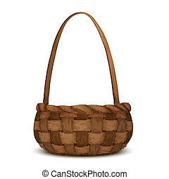 Wicker basket isolated - Empty wicker picnic basket isolated...