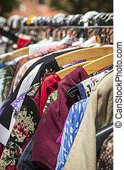 roupas, prateleira, pulga, mercado