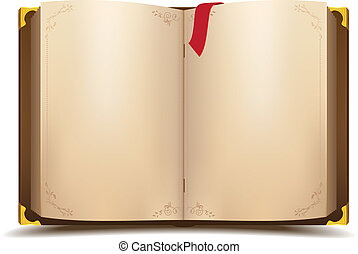 Old open magic book. Vector cartoon illustration